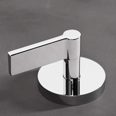 A Silver Deck Mounted Bath Mixer with Lever Handles